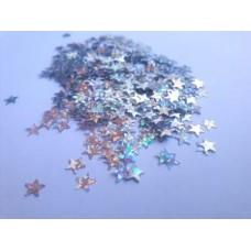 Konfetti gwiazdki srebrny hologram