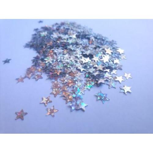 Konffetti do mydeł i mydełek gwiazdki srebrny hologram